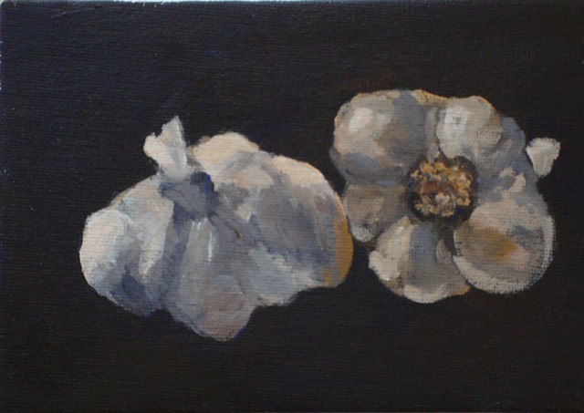 acrylic painting of 2 garlic buds by Vicki Ingham