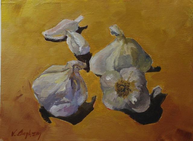 painting of garlic by Vicki Ingham