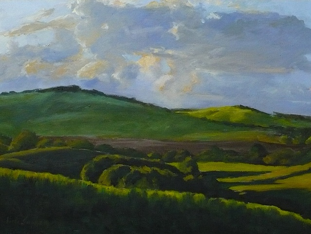 oil painting of Italian landscape with green fields by Vicki Ingham