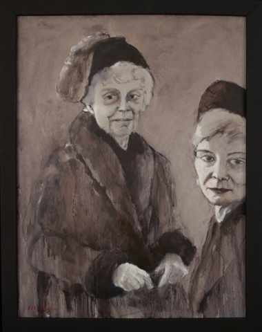 painting of two women in black and white