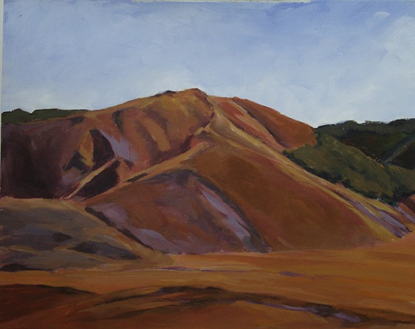 acrylic painting of hills surrounding the Pian Grande in the Sibillini Mountains, Le Marche, Italy, by Vicki Ingham
