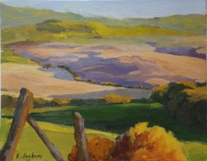 painting of Tuscan hillsides by Vicki Ingham