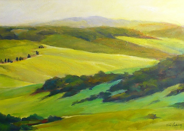 oil painting of interweaving hills in Tuscany by Vicki Ingham