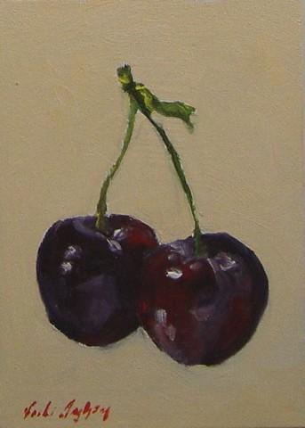 oil painting of cherries by Vicki Ingham