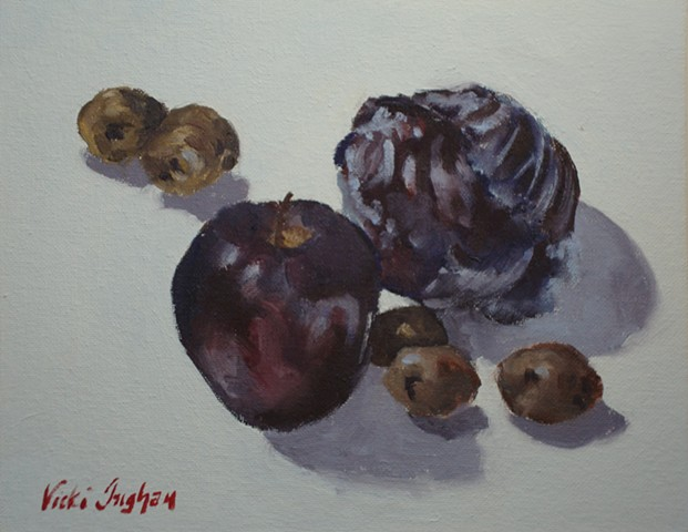 oil painting of red cabbage, red apple, potatoes by Vicki Ingham