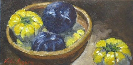 oil painting of  Asian eggplants and plums by Vicki Ingham