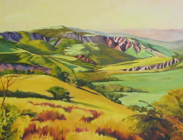 oil painting of landscape below Radicofani in Tuscany, Italy, by Vicki Ingham