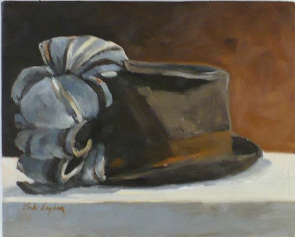 painting of a vintage hat, possibly theatrical by Vicki Ingham