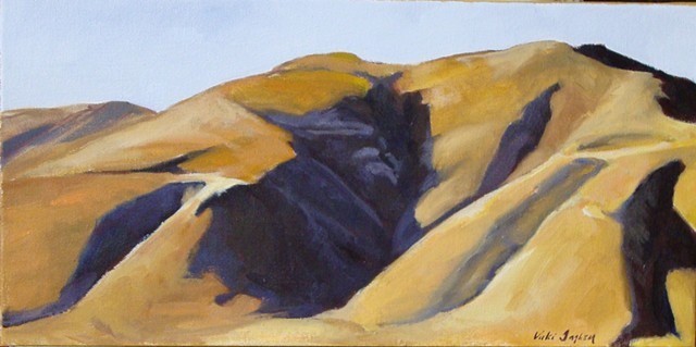 OIl painting of barren hills in the Le Marche region of  Italy by Vicki Ingham