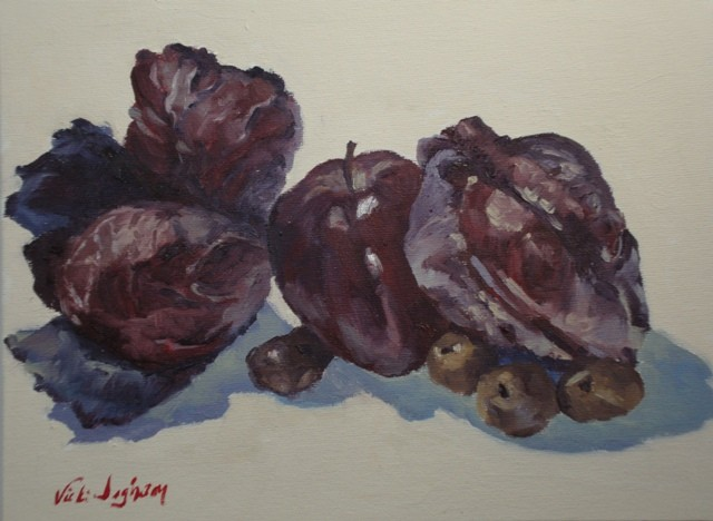 oil painting of red cabbage, apple, potatoes by Vicki Ingham