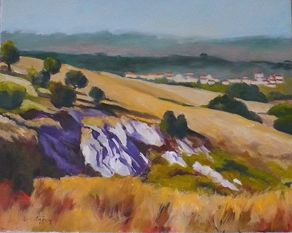 oil painting of rocky outcroping in Tuscany, Italy, by Vicki Ingham