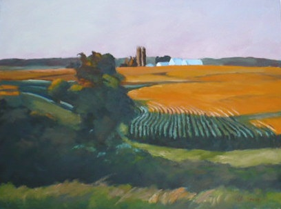 oil painting of Iowa cornfields before sunset by Vicki Ingham