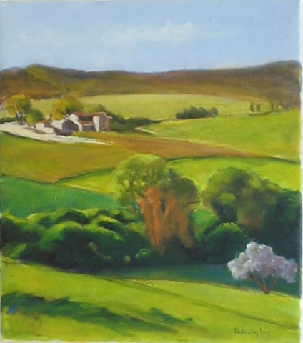 oil painting of farm and hills in Italy by Vicki Ingham