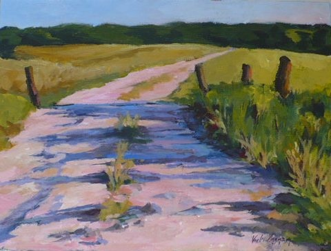 acrylic painting of a farm road in southeastern Iowa by Vicki Ingham