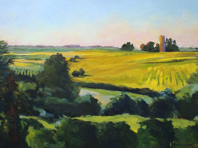 acrylic painting of Iowa cornfields with silo and trees on horizon by Vicki Ingham