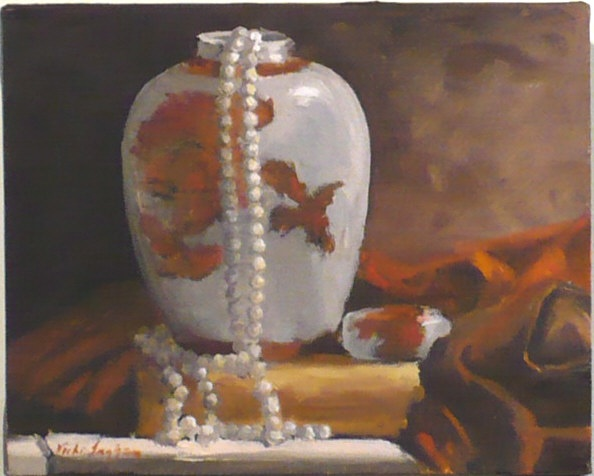 painting of ginger jar with pearls and scarf by Vicki Ingham