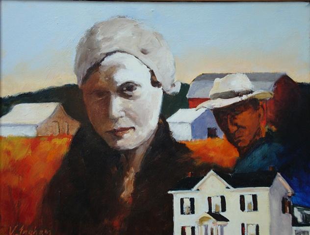 woman and man and barns