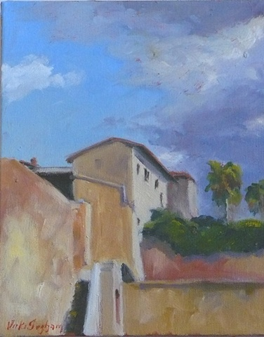 oil painting of hill town in Italy by Vicki Ingham
