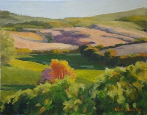 oil painting of the view from Poggiarellino's vineyards across Tuscan hills by Vicki Ingham
