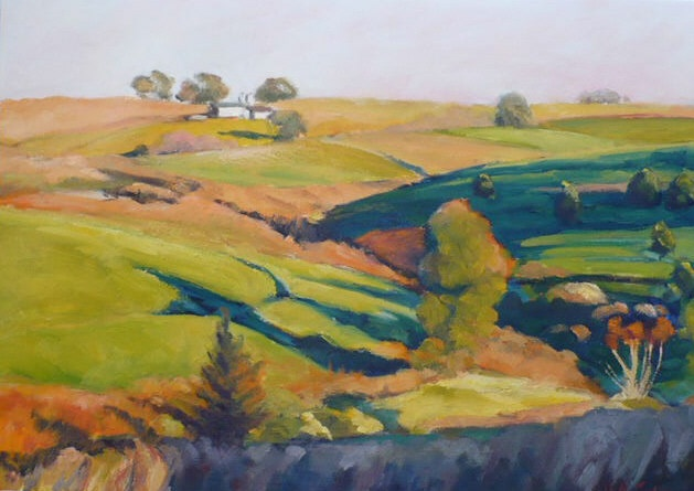 oil painting of Iowa landscape in golden light by Vicki Ingham
