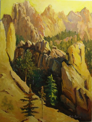 oil painting of Cathedral Spires along Needles Highway in South Dakota by Vicki Ingham