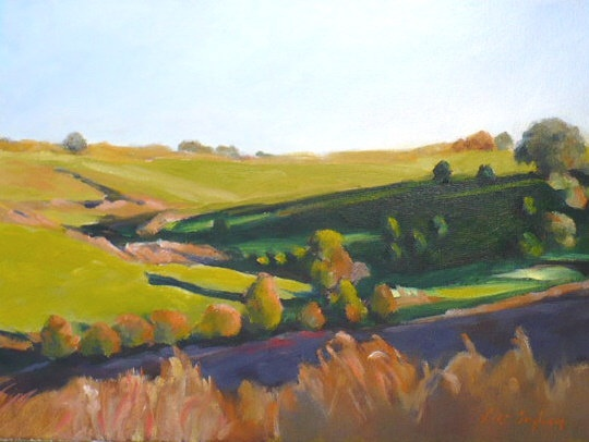 oil painting of an Iowa landscape in late afternoon by Vicki Ingham