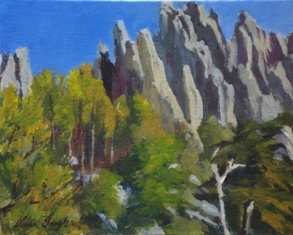 Acrylic painting of Cathedral Spires on Needles Highway, Black Hills, South Dakota by Vicki Ingham
