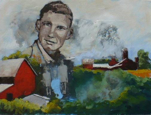 Young man and barns