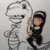 Nun Riding A T-Rex holding a Cupcake