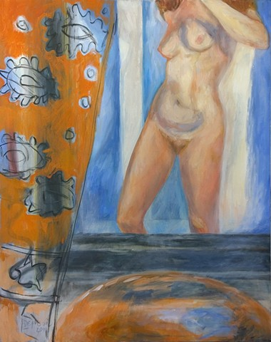 Nude with Orange Curtain