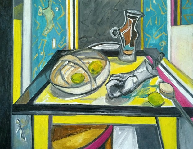 Lemon Table with Artefacts
