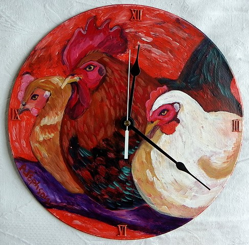Red Chickens Clock