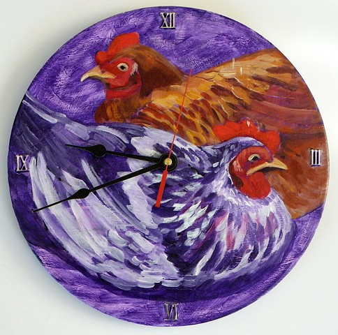 Two Hens Clock