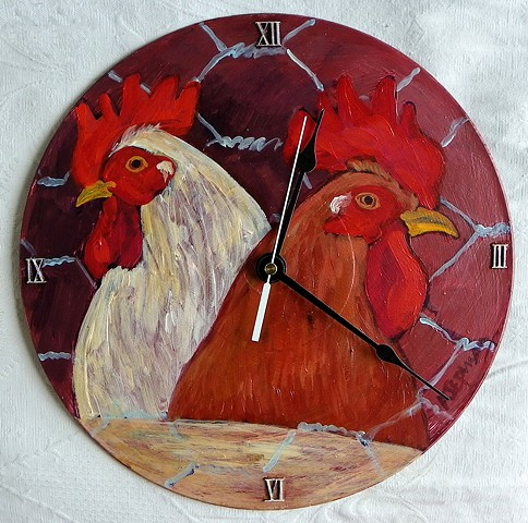 Two Roosters Clock