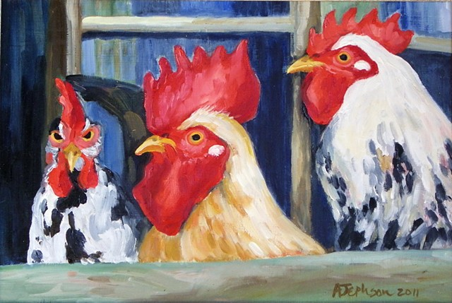 Two Roosters and Hen