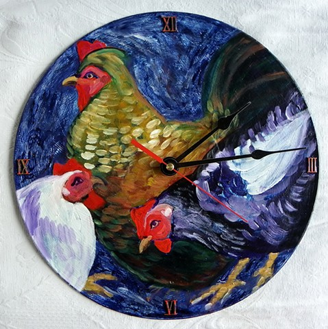 Blue Chickens Clock