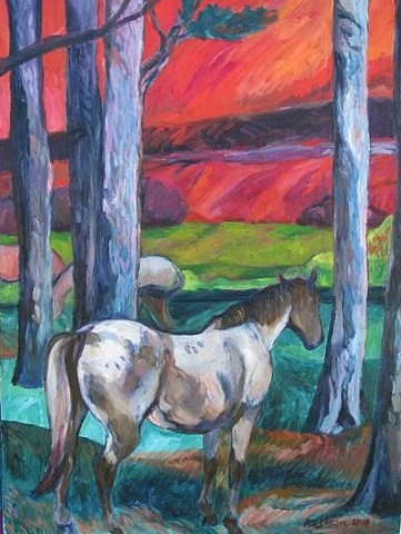 Horses in Fire Landscape