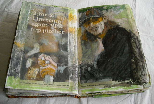 Sketchbook-baseball article-painting into photo from SF Chronicle