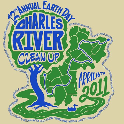 Charles River Cleanup Event T-shirt Design