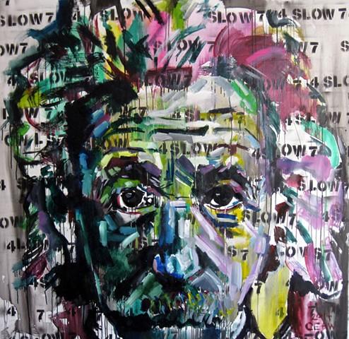 einstein, einstien, slow, genuis, green, germany, langsam, 4, 7, art, artist, painter, chris, williams, chris williams, atlanta, atl, new orleans, bright, colors, color,  paint