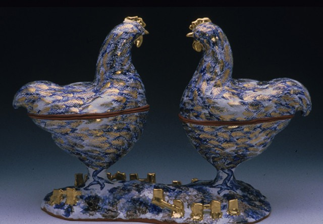 Two Chickens Double Soup Tureen