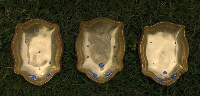 Three Gold Frog Dishes