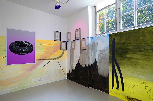 Clusters:1-surrounding John Giorno, group show, Sang Bleu, Brachfeld Gallery and Dorothée 	Perret, Paris A series of six paintings, acryl on the wall