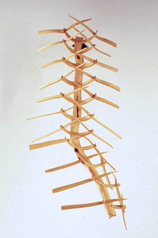 Wood sculpture about rib cages by Lin Lisberger