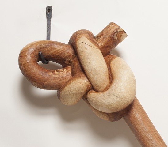 Detail of wood knot sculpture by Lin Lisberger