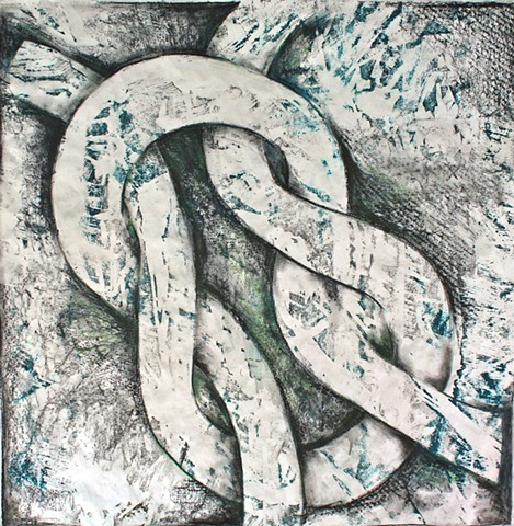 Woodblock print with knot drawing by Lin Lisberger