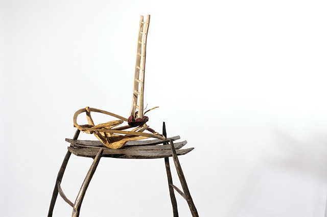 Wood ladder sculpture by Lin Lisberger