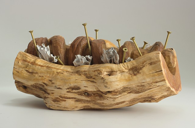 Carved and constructed wood sculpture by Lin Lisberger