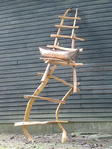 Wood sculpture of ladder and boat installed at Chesterwood by Lin Lisberger