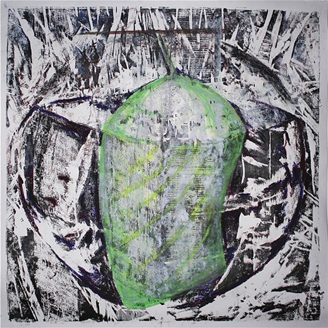 Woodblock print with pastel on Stonehenge by Lin Lisberger